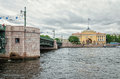 A View Of Dvortsovy Bridge And The Admiralty Building From A Riverboat Passing Down The Neva River. Royalty Free Stock Photography - 76619547