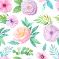 Seamless Pattern With Pink Flowers And Leaves Royalty Free Stock Image - 76626846