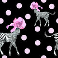 Abstract Illustration Of Two Striped (white And Black) Zebra In Fashionable Pink Flower Hats Stock Photography - 76630522