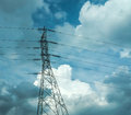 Electrical Poles Of High Voltage In White Cloud And Blue Sky / Electric Pole Power Lines And Wires With Blue Sky / High Voltage Eq Royalty Free Stock Photo - 76639005