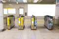 Automatic Entrance Of Subway With White Board. Stock Image - 76645121