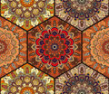 Honey Comb Hex Pattern From Flower Mandala Brown Stock Image - 76653311