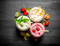 Berry Smoothie With Mint And Nuts. Stock Photos - 76656403