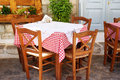 Traditional Greek Tavern Table Royalty Free Stock Photo - 76665515