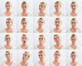 Collage Of Woman With Various Expressions Royalty Free Stock Photos - 76668018
