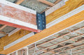 Two Wooden Supporting Beams Stock Images - 76677364