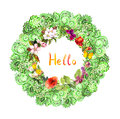 Floral Circle Border - Decorative Ornament. Meadow Flowers, Butterflies. Watercolor Stock Images - 76688034