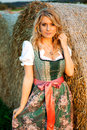 Pretty Young German Oktoberfest Blonde Woman Wearing A Dirndll Royalty Free Stock Images - 76696209