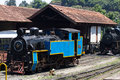 OOTY, TAMIL NADU, INDIA, 22 March 2015 : Nilgiri Mountain Railway. Blue Train. Unesco Heritage. Narrow-gauge. Steam Royalty Free Stock Image - 76719936