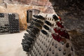 Sparkling Wine  Bottles Fermenting  In Winery Stock Photos - 76726773