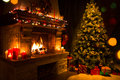 Christmas Interior With Tree, Presents And Fireplace Stock Images - 76732394