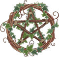 Vine Wreath Entwined With Ivy And Pentagram Royalty Free Stock Photos - 76739028