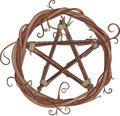 Vine Wreath And Pentagram Royalty Free Stock Photos - 76739398
