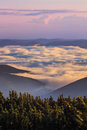Picturesque Sunrise Morning In Mountains Above Clouds, Carpathians, Ukraine. Royalty Free Stock Photography - 76739547