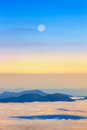 Picturesque Sunrise Morning In Mountains Above Clouds, Carpathians, Ukraine. Stock Photo - 76739690