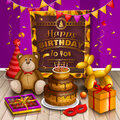 Happy Birthday Greeting Card. Lots Of Presents And Toys. Party Hats, Teddy Bear, Cake, Dog Balloon, Box Of Chocolates Royalty Free Stock Photography - 76739907