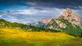 Fantastic Summer Scene Of The Sass De Stria Mountain Range Royalty Free Stock Photo - 76743155