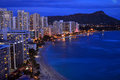 Aerial Dusk View Of Waikiki Stock Images - 76748774