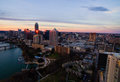 Aerial Austin Texas Sunset Golden Hour Skyline Pink Horizon And Golden Reflections Off Skyscrapers Royalty Free Stock Photo - 76762335