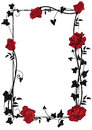 Frame With Roses, Ivy And Butterflies Royalty Free Stock Image - 76774096