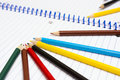 Back To School. Colour Pencils. Stationery. Notebook. Royalty Free Stock Image - 76777636
