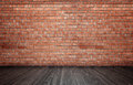 Rendering Of Interior With Red Brick Wall And Wooden Floor. Stock Images - 76792784