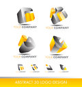 Abstract 3d Set Logo Cube Icon Yellow Grey Stock Photo - 76796570