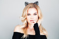 Sexy Woman With Cat Ears Stock Images - 76806224