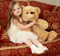 Girl With Teddy Bear Stock Images - 76812634