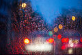 Cars Windshield On A Rainy Night Royalty Free Stock Image - 76815476