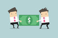 Two Businessmen Are Pulling The Dollar To Each Other. Royalty Free Stock Images - 76818139