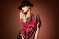 Fall Fashion. Woman In Autumn Shawl. Stylish Hat Stock Image - 76825041