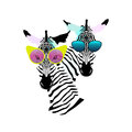 Abstract Watercolor Pattern Two Funny Striped Zebra Girl Man Sunglasses Stock Photos - 76826083