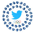 Twitter Bird Logo With Olympic Games Rings And Kinds Of Sport Royalty Free Stock Images - 76829609