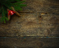 Christmas Tree Branches With Cones And Christmas Decorations On Stock Photos - 76841973