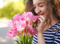 Beautiful Girl With Bunch Pink Tullips Royalty Free Stock Photo - 76844335