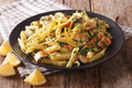 Delicious Penne Pasta With Herbs, Chicken Breast And Lemon Peel Royalty Free Stock Images - 76851389