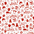 Merry Christmas And Happy New Year 2017. Christmas Season Hand Drawn Seamless Pattern. Vector Illustration. Doodle Style Royalty Free Stock Photo - 76851505