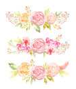 Watercolor Delicate Pink Flowers And Leaves Stock Images - 76857244