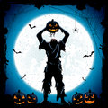 Monster With Head Of Halloween Pumpkin On Blue Night Background Stock Photography - 76862352