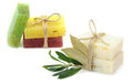 Natural Herbal Soaps With Olive And Daphne Leaf Stock Photos - 76866473