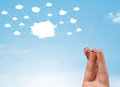 Finger Smiley With Cloud Network System Stock Image - 76873461