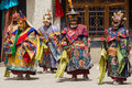 Tibetan Men Dressed Mask Dancing Tsam Mystery Dance On Buddhist Festival At Hemis In Ladakh, North India Royalty Free Stock Photos - 76877968