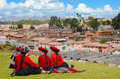 CHINCHERO, PERU- JUNE 3, 2013: Native Cusquena Women Dressed In Traditional Colorful Clothing Stock Photos - 76888083