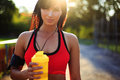 Healthy Fitness Girl With Protein Shake. Royalty Free Stock Photography - 76890637
