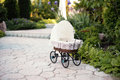 Doll S Pram. Vintage Doll Stroller Placed On The Stone Walkway, Alley In A Beautiful Garden Royalty Free Stock Images - 76894709