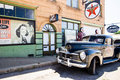 Small-town Steet With Pickup Truck At An Old Fueling Station Stock Photos - 76917463