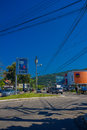 FLORIANOPOLIS, BRAZIL - MAY 08, 2016: Some Cars Driving Trough A Street, Blue Sky As Background Royalty Free Stock Photo - 76921915