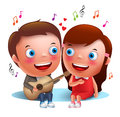 Two Young Kids Couple Happy Singing Serenade With Guitar For Valentines Royalty Free Stock Images - 76933799
