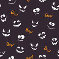 Halloween Seamless Pattern With Creepy Faces Stock Photo - 76940140